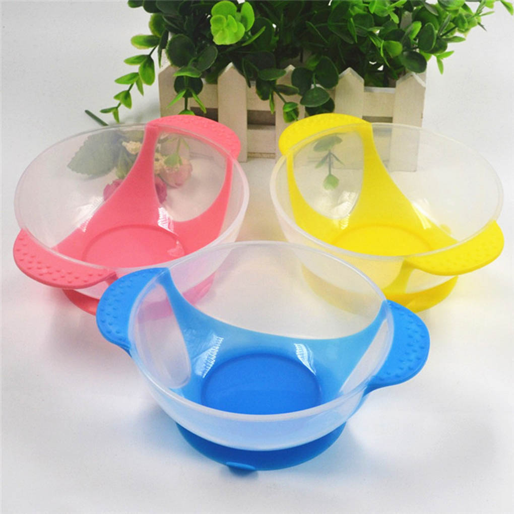 Baby Feeding Dinnerware Feeding Set Baby Cutlery Sets Drop Resistance Temperature Sensing Spoon Sucker Bowl For Baby Feed Train