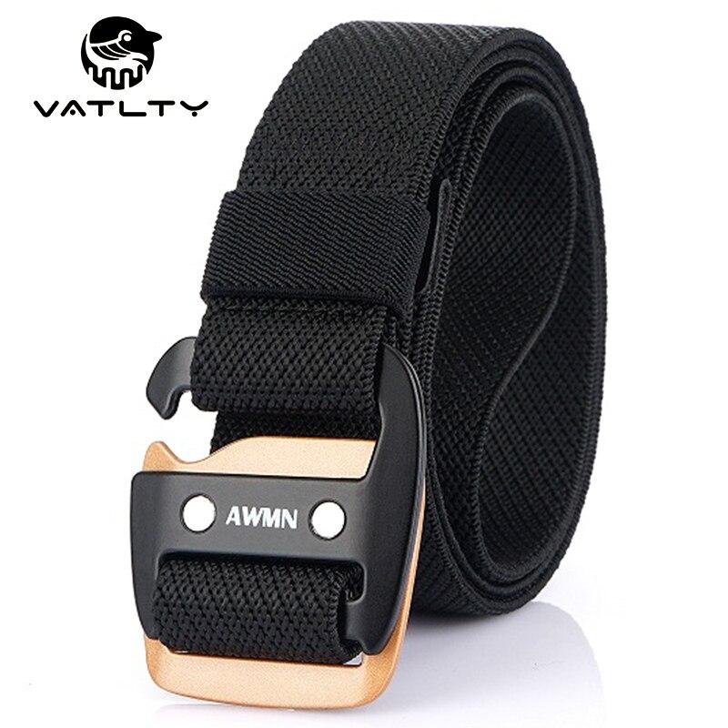 2021 Fashion Stretch Tactical Belt Rust-Proof Metal Quick Release Buckle Strong Nylon Outdoor Work Sports Belt Men's Jeans Belt