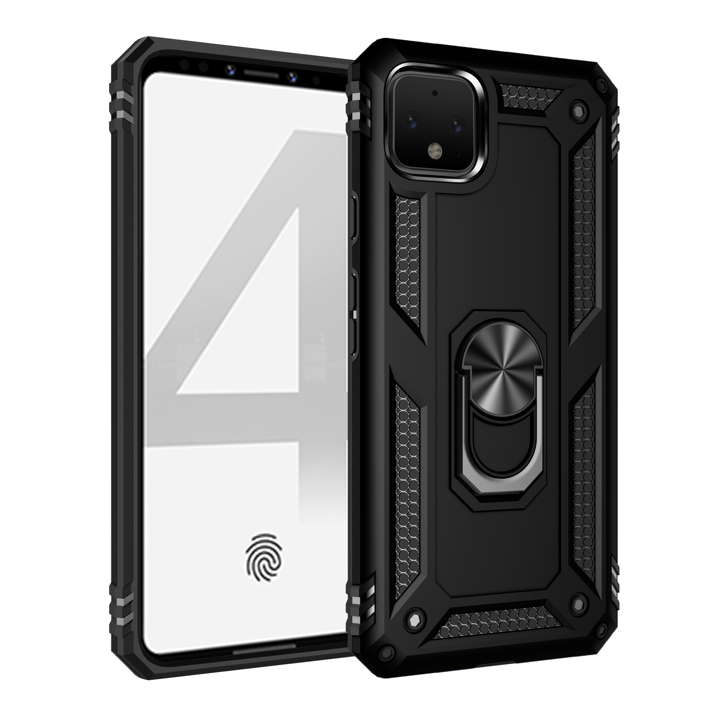 Hybrid TPU + PC Shockproof Cell Phone Case For Google Pixel 3A 4 XL With Barcket Ring Magnetic Function Back Cover Capa