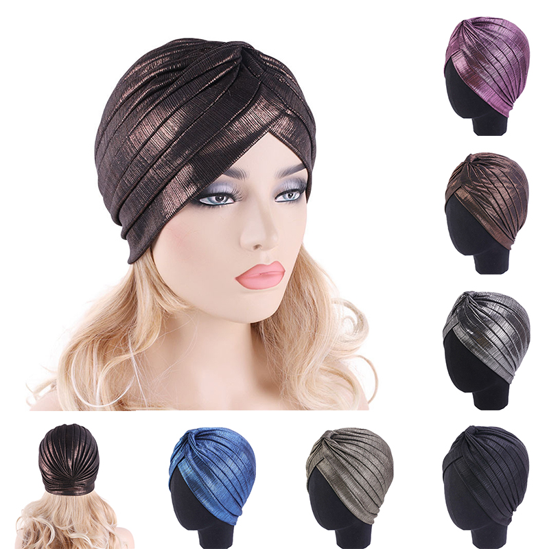Women Metallic Pleated Turban Shiny Hijab Head Wrap Beanie Hat Muslim Chemo Cap Fashion Designs Solid Headwear Hair Accessories