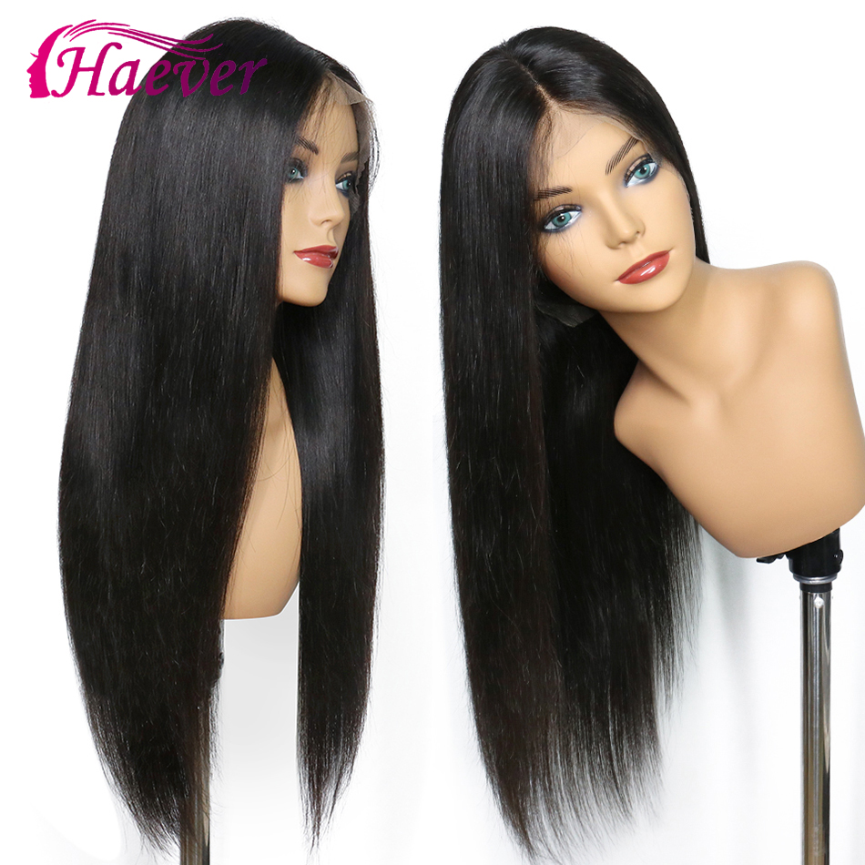 Haever 13x4 Closure Wig Human Hair Wigs Pre Plucked For Black Women 180% Remy Brazilian Straight Lace Front With Baby Hair