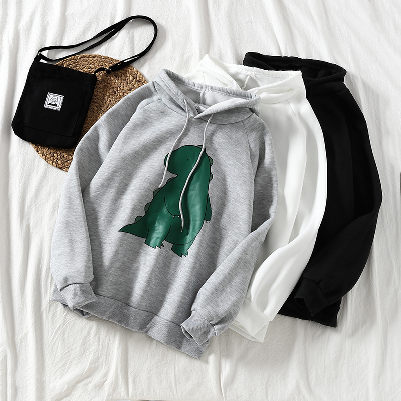 Mooirue  Autumn Women Oversized Hoodie Funny Dinosaur Printed Harajuku Streetwear Loose Casual Outwear Kawaii Sweatshirt