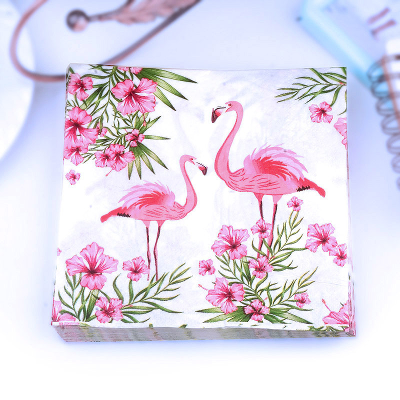 Pink Flowers And Birds Color Paper Towel Printed Napkin Hotel Cup Stained Paper Placemat Wedding Banquet Paper Napkin