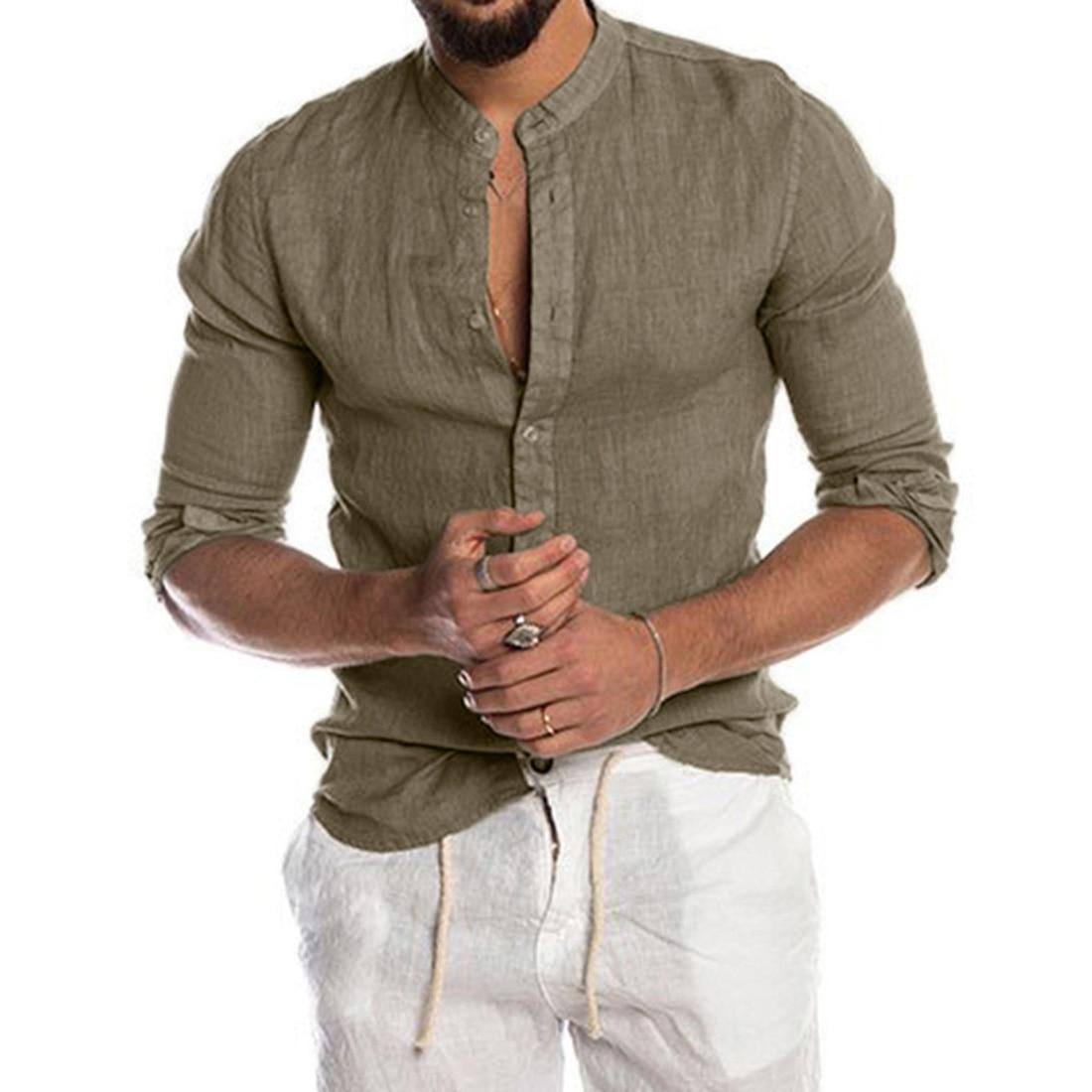 Laamei 2020 New Men's Casual Blouse Cotton Linen Shirt Loose Tops Shirt Spring Autumn Casual Handsome Men Long Sleeve Shirt