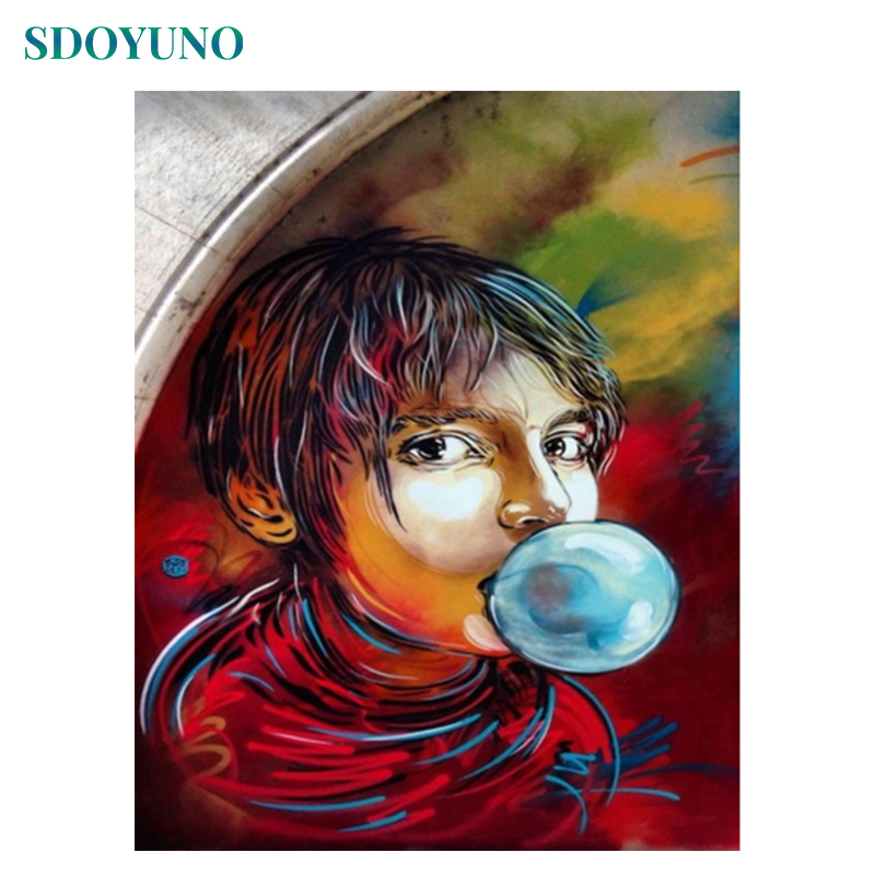 SDOYUNO 60X75cm Paint By Numbers On Canvas Blowing Bubbles Home Decor Frameless Digital Painting DIY Oil Painting By Numbers