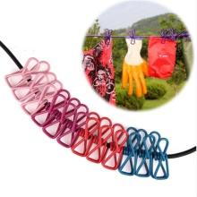 Outdoor Home  12 Clips Stretch Clothespin Windproof Clothesline