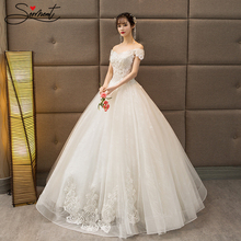 Lace Wedding Dress 2019 New Summer Bride Married A Word Shoulders Europe and The United States Was Thin Tutu Wholesale Supply