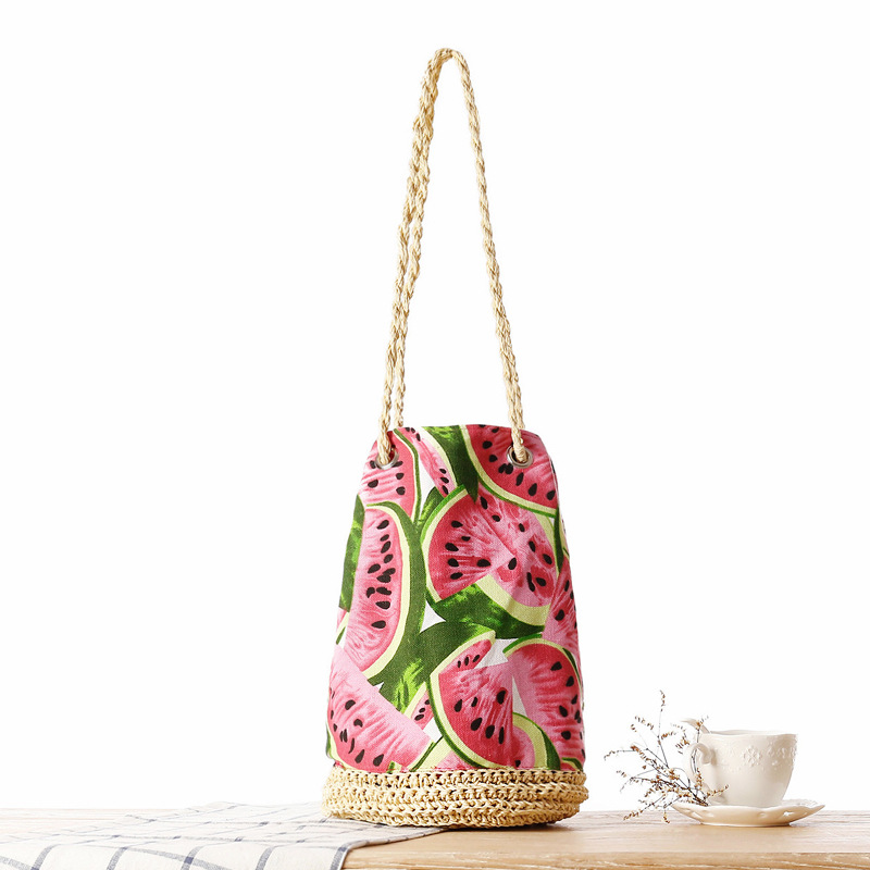 Fashion Women Summer Rattan Bags Barrel Straw Bag Handmade Woven Beach Watermelon Drawstring Bags Bohemian Handbags Totes Shop