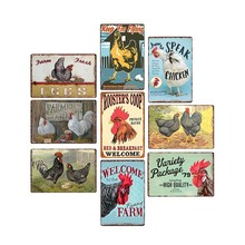 Cartel de lata de pollo, placa de decoración de granja, Vintage, casa de granja, platos decorativos Retro, Bar, Pub, decoración de pared, 20x30cm