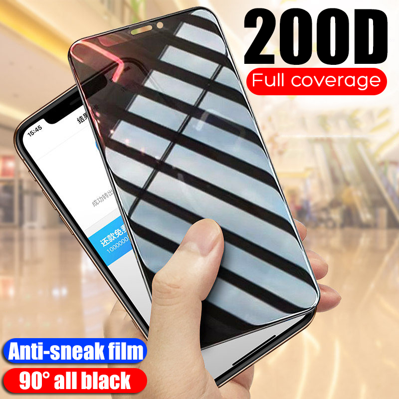 200D AntiSpy Tempered Glass For IPhone 6 6S 7 8 Plus X Xs Max XR Privacy Screen Protector Protective Glass For IPhone 11 Pro Max