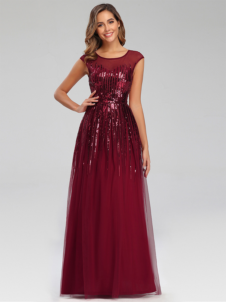 Party-Gowns Evening-Dresses Ever Pretty Vestidos Elegantes Burgundy Long Sparkle O-Neck