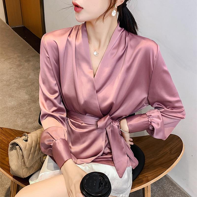 Korean Fashion Silk Women Blouses Satin Womens Tops And Blouses Ladies Tops Plus Size Office Lady Blusas Femininas Elegante