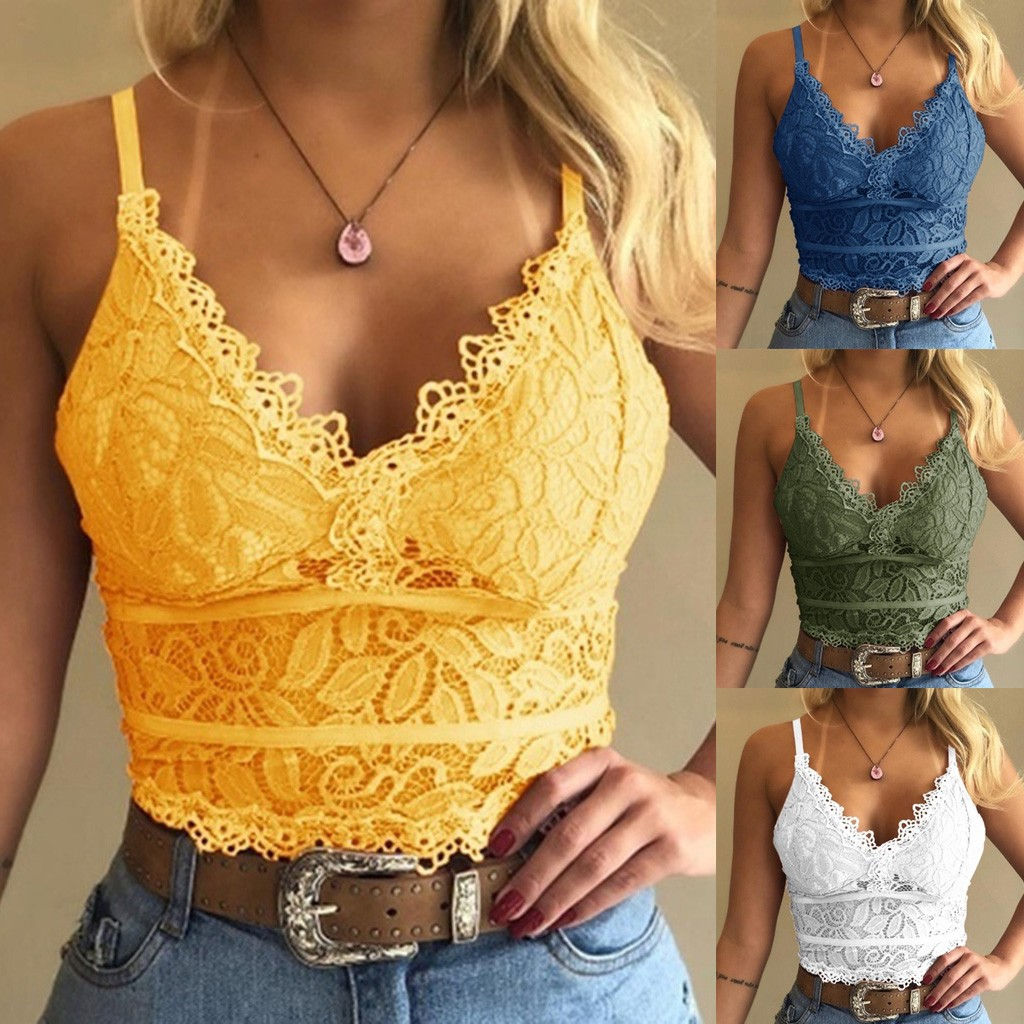 2020 New Eyelash Lace Strap Wrapped Chest Shirt Top New Underwear Ladies Camisole Black White Women Summer Crop Top 5 Colors 4