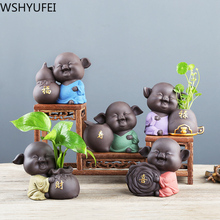 Tea-Decoration-Accessories Ceramic Pet-Ornaments Tea-Figurine Purple Small 1PCS Crafts