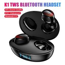 TWS Wireless Bluetooth Headset LED Power Display 5.0 Touch Binaural Stereo In-Ear Sports Headset Noise Reduction Sport Earphone