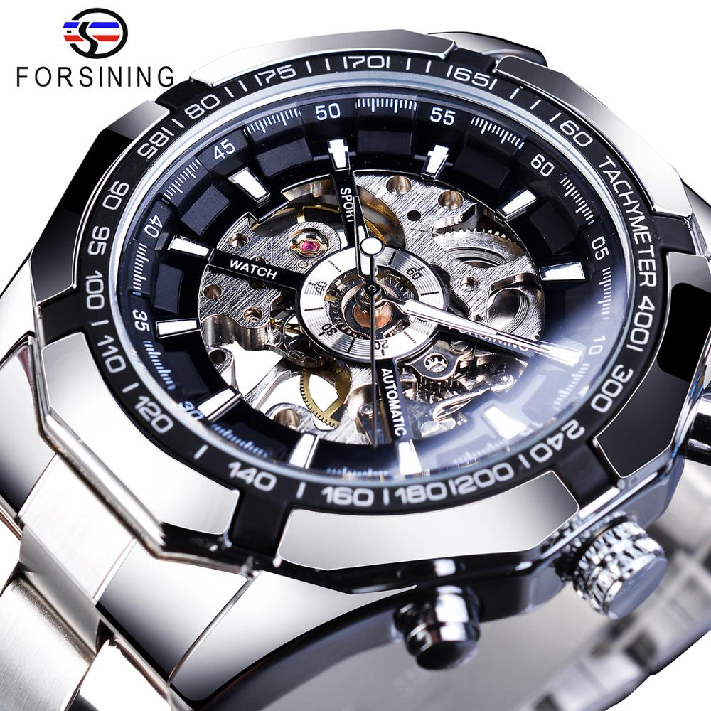 Forsining Skeleton Watches Mechanical Transparent Stainless-Steel Sport Mens Luxury Waterproof
