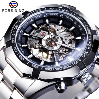 Forsining 2019 Stainless Steel Waterproof Mens Skeleton Watches Top Brand Luxury Transparent Mechanical Sport Male Wrist Watches 1