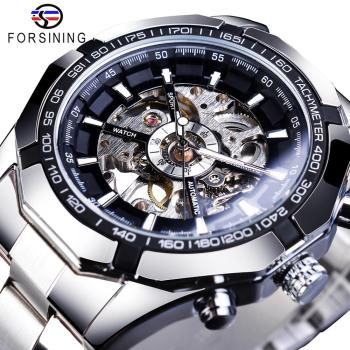 Forsining 2019 Stainless Steel Waterproof Mens Skeleton Watches Top Brand Luxury Transparent Mechanical Sport Male Wrist Watches forsining 3d skeleton royal retro design blue steel mesh band golden movement men mechanical male wrist watches top brand luxury