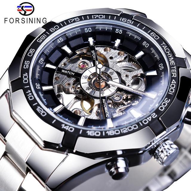 Forsining 2019 aço inoxidável à prova dwaterproof água dos homens relógios esqueleto marca superior luxo transparente esporte mecânico masculino relógios de pulso