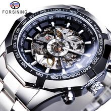 Forsining 2019 스테인레스 스틸 방수 망 해골 시계 톱 브랜드 럭셔리 투명한 기계 스포츠 남성 손목 시계