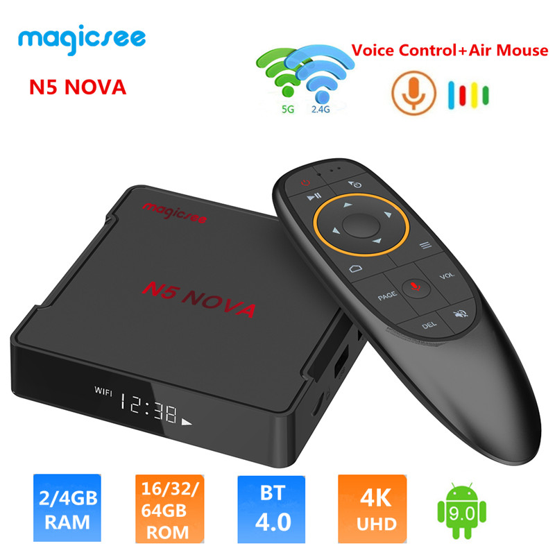 MAGICSEE N5 NOVA TV Box 2.4G Voice Remote With Air Mouse Android 9.0 4GB RAM 32GB/64GB ROM Dual-band WiFi BT4.0 4K Set Top Box