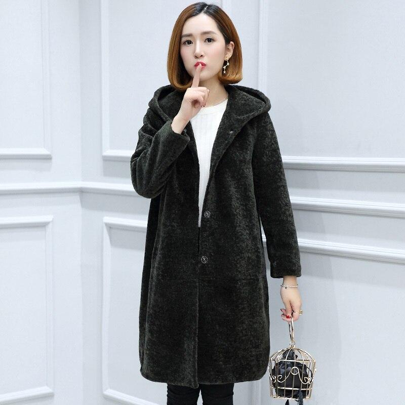 Genuine Fur Coat Women Autumn Winter Warm Thick Sheep Shearing Fur Coat Plus Size 6XL Jacket OT1773 MF529