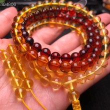 Certificate 7mm Natural Amber Bloold Red Yellow Gold Bracelet 108 Prayer Round Beads Women Men Necklace Crystal AAAAA