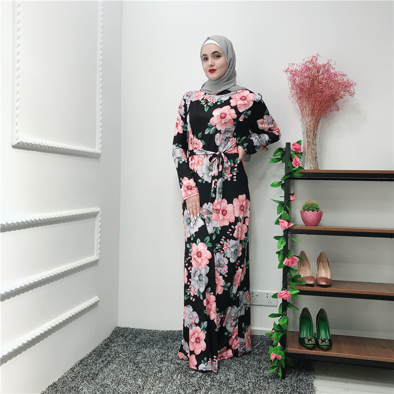 Turkey Dubai Muslim Long Dress Women Abaya Print Floral Lace-up Caftan Kimono Islamic Clothing Elbise Moroccan Dresses Kaftan
