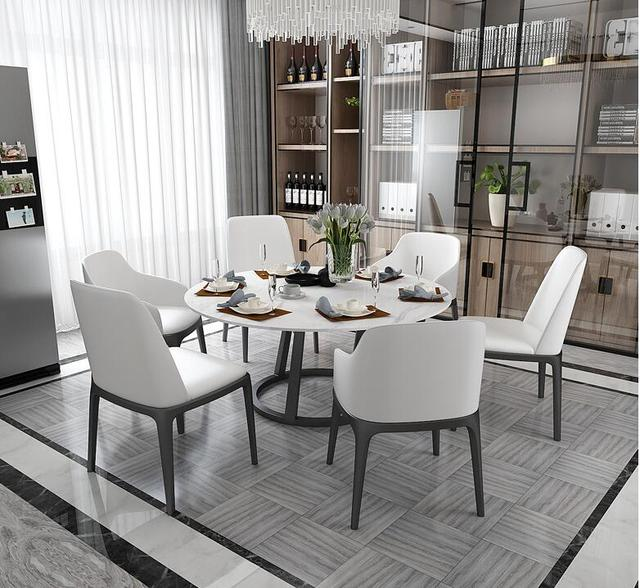 Round Marble Dining Table and Chair Combination  3