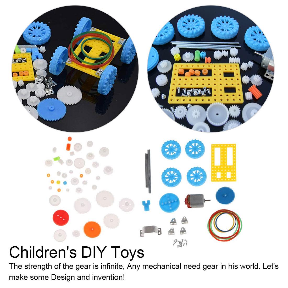 77pcs Plastic Gear Motor Gearbox Model Craft DIY Four-wheel Drive Car Auto Robot Children Rack Pulley Belt Scientific Experiment