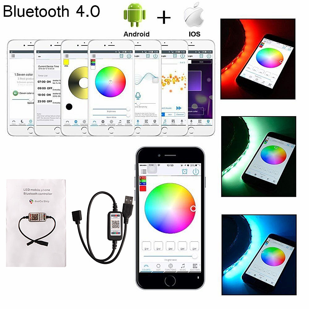 H638f640108fa4005b941d3e192d5a128O RGB Tape Bluetooth USB LED Strip TV Background Flexible Neon Ribbon tira Lamp 5V 0.5M SMD 5050 RF Controller LED RGB Strip Light