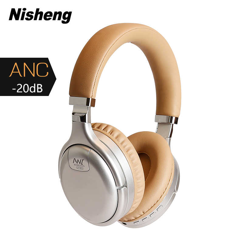 Anc Bluetooth Headset Active Noise Cancelling Wireless & Wired Hoofdtelefoon Met Microfoon Koptelefoon Deep Bass Hifi Geluid Oortelefoon