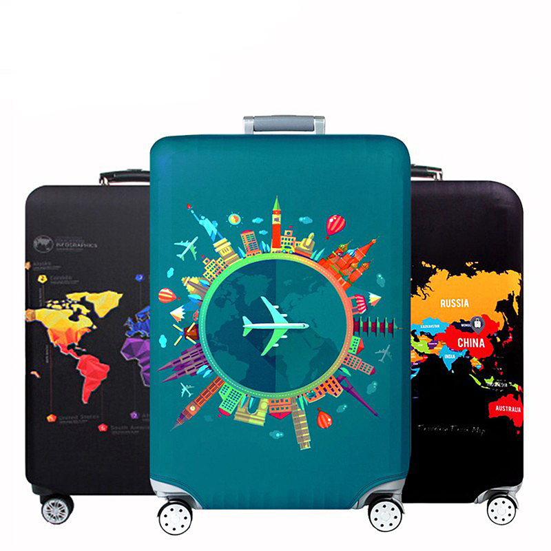 Unisex Travel Suitcase Protector Zipper Washable Print Luggage Cover 18-30 Inch Travelling Organizer Dustproof Baggage Cover