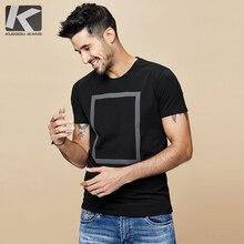 KUEGOU 2020 Summer Cotton Print White T Shirt Men Tshirt Brand T shirt Short Sleeve Tee Shirt Fashion Clothes Plus Size Top 1613