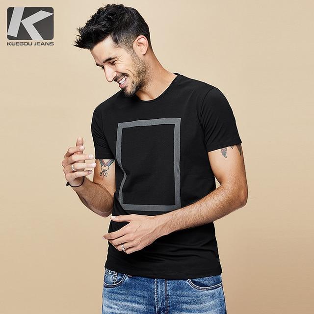 KUEGOU 2020 di Estate Della Stampa di Cotone Bianco Maglietta Degli Uomini della Maglietta di Marca T Shirt Manica Corta Tee Camicia di Modo Più I Vestiti di Formato top 1613