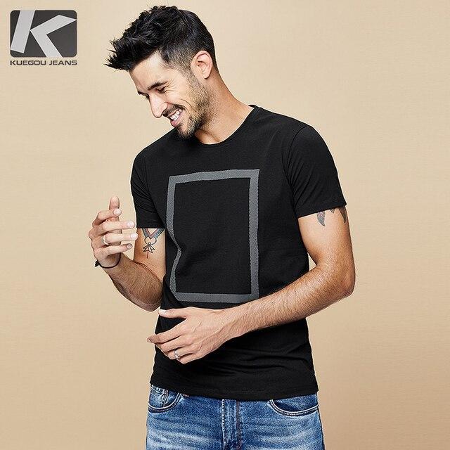 Kuegou 2020 verão algodão imprimir branco t camisa dos homens tshirt marca camiseta manga curta camiseta roupas de moda mais tamanho superior 1613