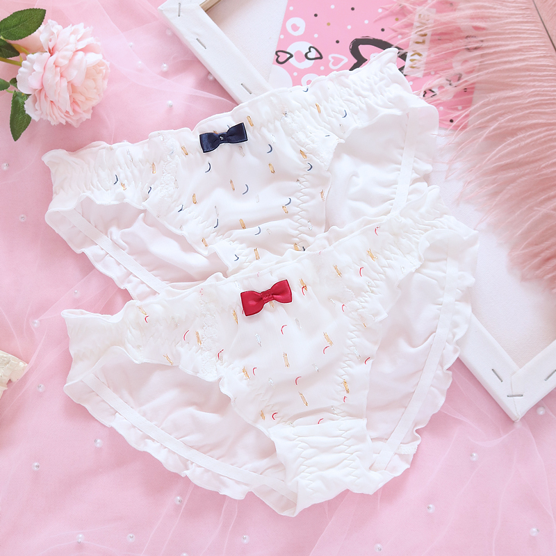 Girl's Chiffon Moon Pattern Lace Panties Lovely Sweet Lolita Bowknot Briefs Underwear Sexy Small Fresh Women's Intimates M-L