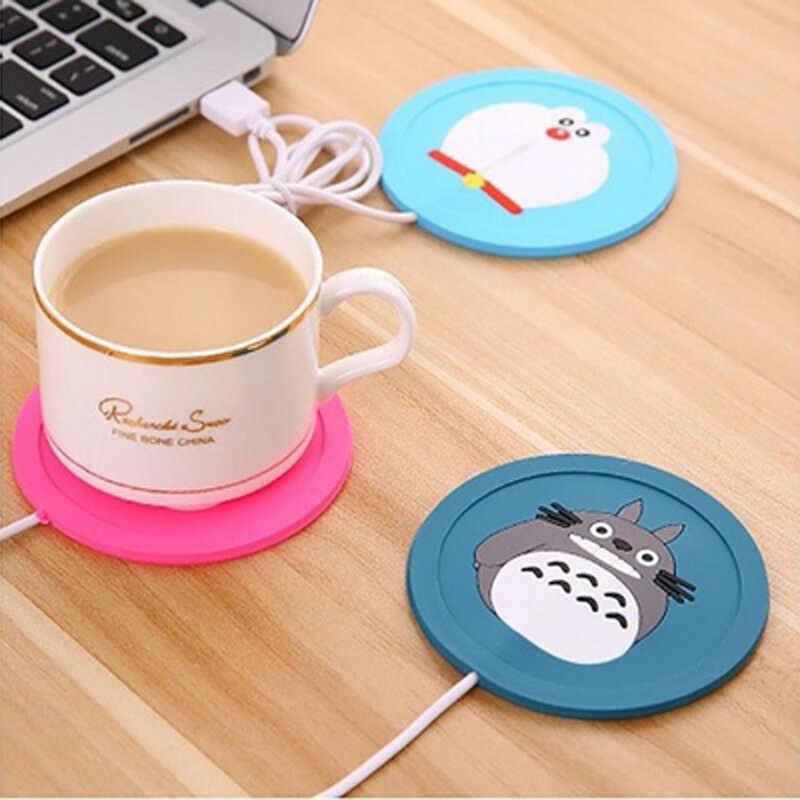 Cute Cartoon 5V USB calentador taza de silicona calentador de calor para leche té taza de café bebidas calientes taza estera herramientas de cocina calentador