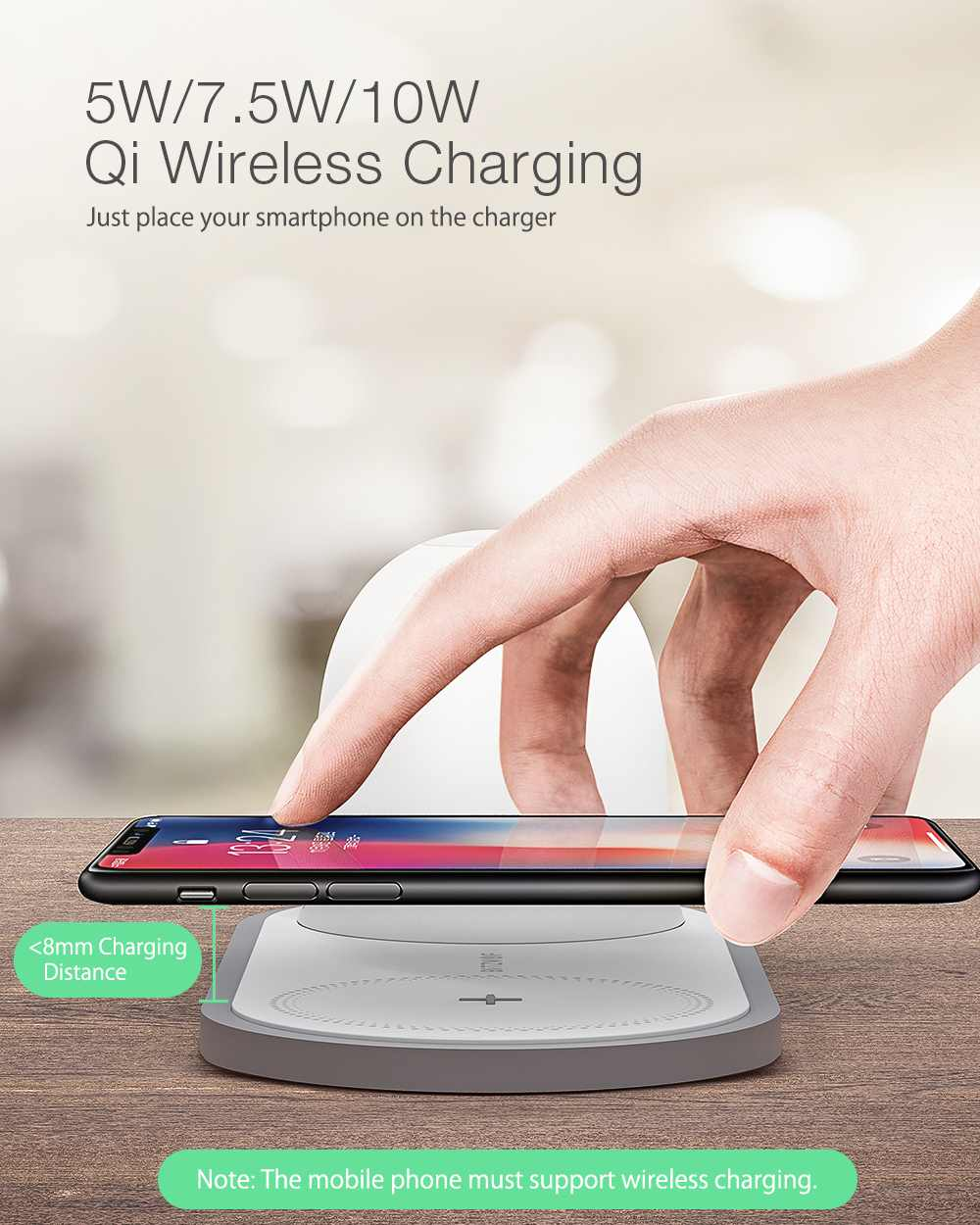 [QI Charge] BlitzWolf BW-LT26 10W Qi Wireless Charger Type-C Charging Magnetic Detachable Lamp with 2700k-5000k LED Night Light