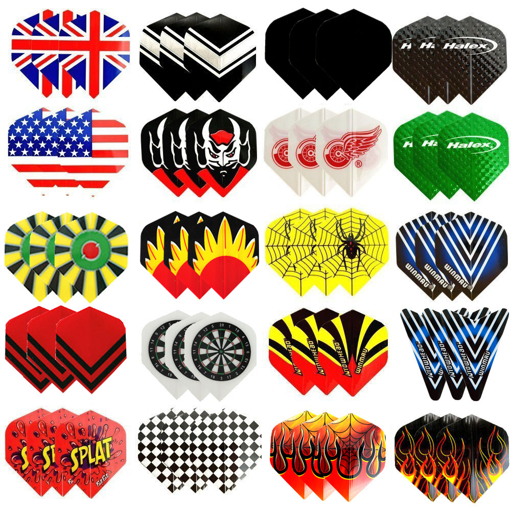 Fox Smiling 60/48/30/12pcs 2D Cool Standard Dart Flights Nice Darts Flight Outdoor Wing Tail Mixed Pattern