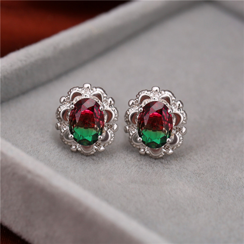 Exquisite Oval Rainbow Crystal Stud Earrings For Women White Gold/Rose Gold Multicolor CZ Stone Earrings Female Wedding Jewelry