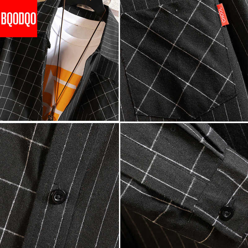 Hombres 5XL camisas de carga Japón algodón Stiped Plaid Streetwear negro camisa Casual Hombre otoño Oversize Vintage Blusa de manga larga