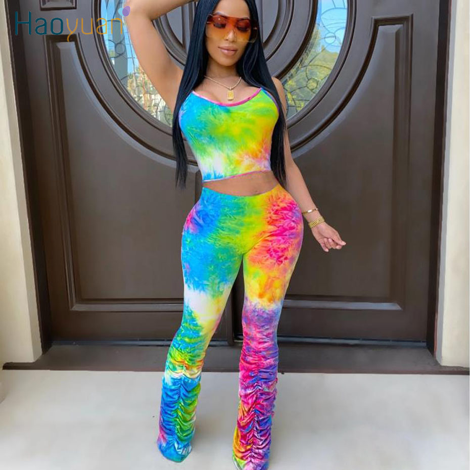 HAOYUAN Sexy Tie Dye Print Two Piece Set Summer Clother For Women Tracksuit Crop Top Stacked Pants Club Outfits Matching Sets