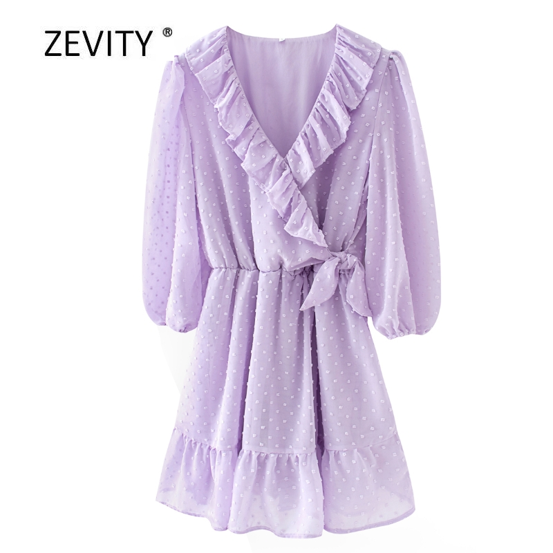 New women fashion cross v neck cascading ruffles vestido chiffon mini dress female three quarter sleeve bow chic dresses DS4016