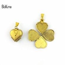 Memory Locket Pendant Jewelry Heart Vintage Clover Boyute One-Piece 22--21--12mm Raw-Brass