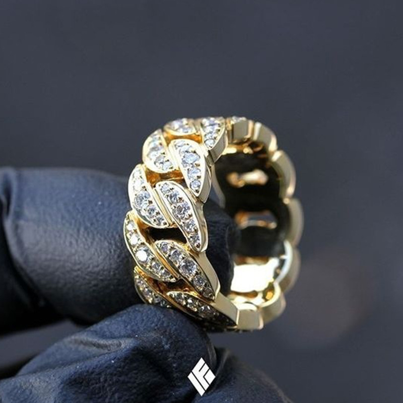 Milangirl Fashion Hip Hop Rock Rings  Bling Iced Out Cuban Link Chain Micro Pave CZ Crystal Ring For Women And Man