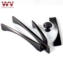 WV Kitchen Cabinet Handles 128mm Black Bronze Zinc Alloy Cupboard Door Pulls and Knobs Drawer Furniture Handle Hardware 9009