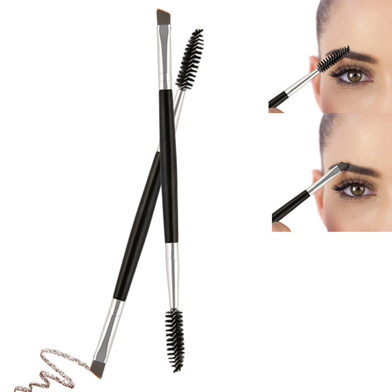Double Ended Wood Handle Eyebrow Brush Comb Makeup Brushes Makeup Brush Wood Handle Double Sided Eyebrow Flat Angled Brushes