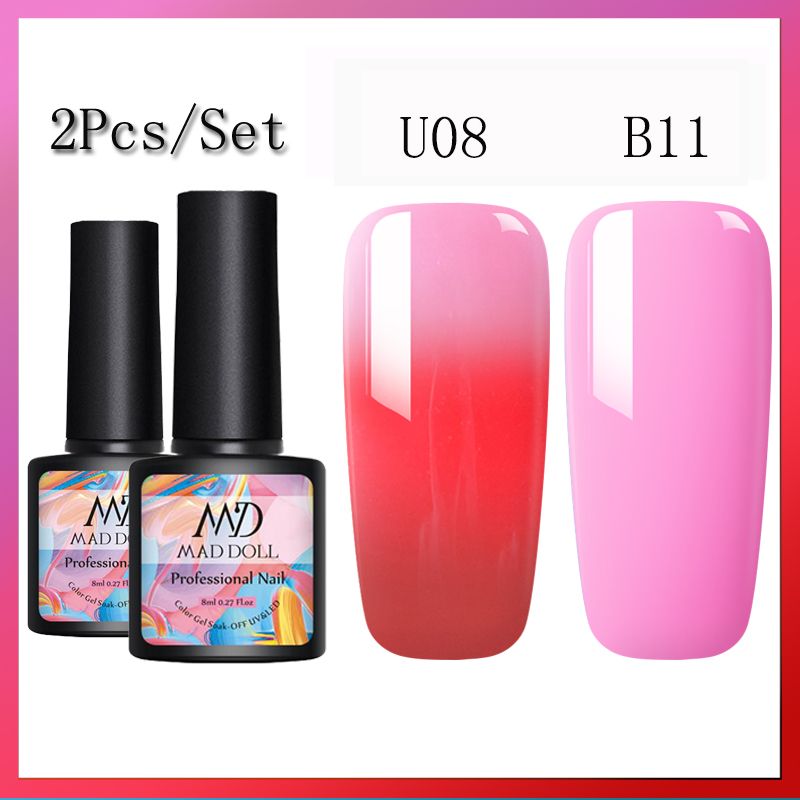 MAD DOLL 2 Bottle/Set  Thermal Color Changing Gel Nail Polish Glitter Temperature Soak Off UV Gel Color-Changing  Gel Nail Art