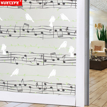 Uccelli e note musicali di carta finestra adesivi vetrofanie autoadesivi di vetro smerigliato bagno bagno opaco cellophane finestra di blackout